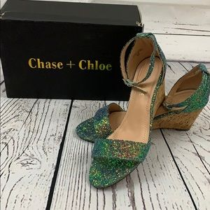 Chase and Chloe blue/green sparkly shoes